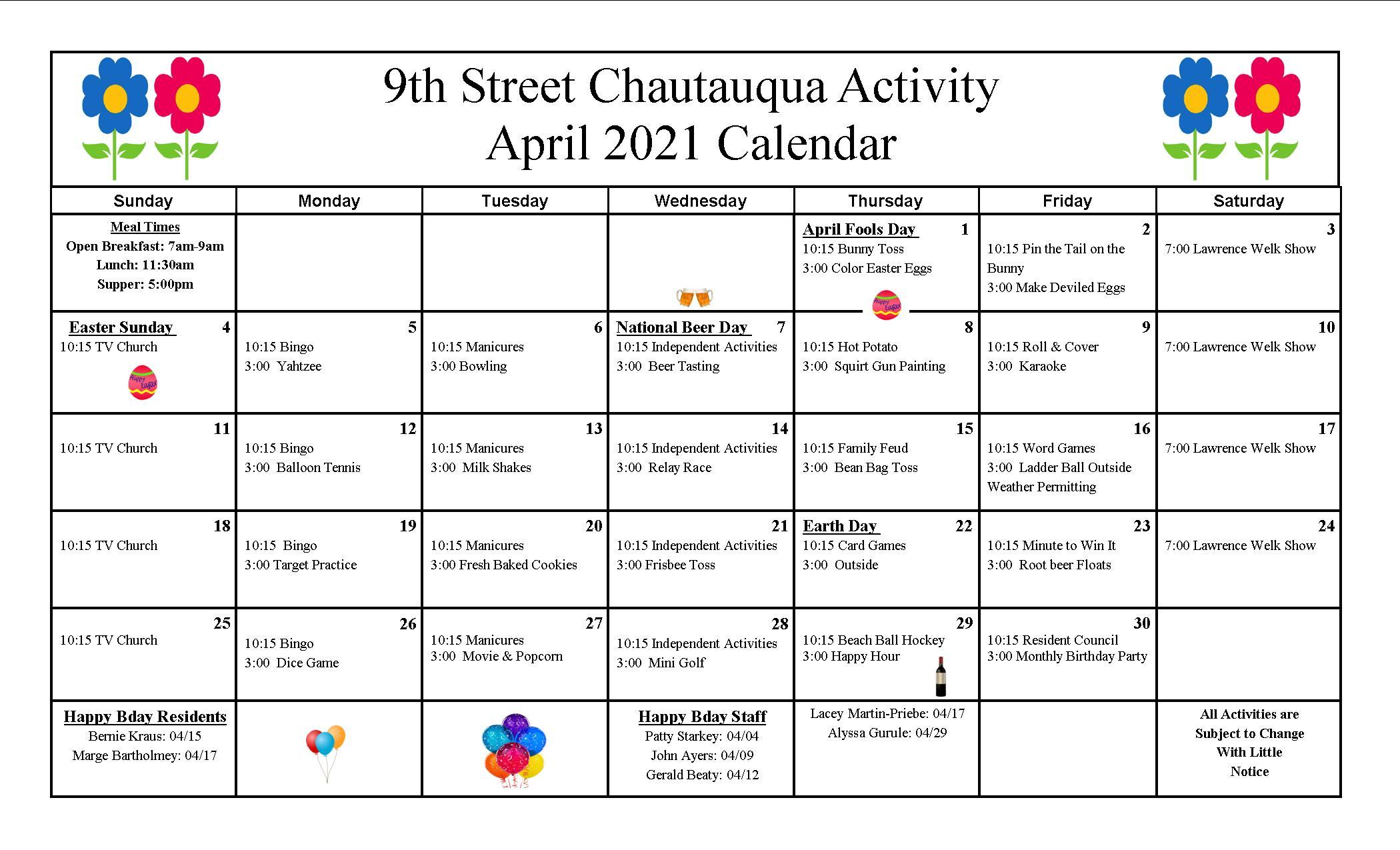 9th Street April Calendar