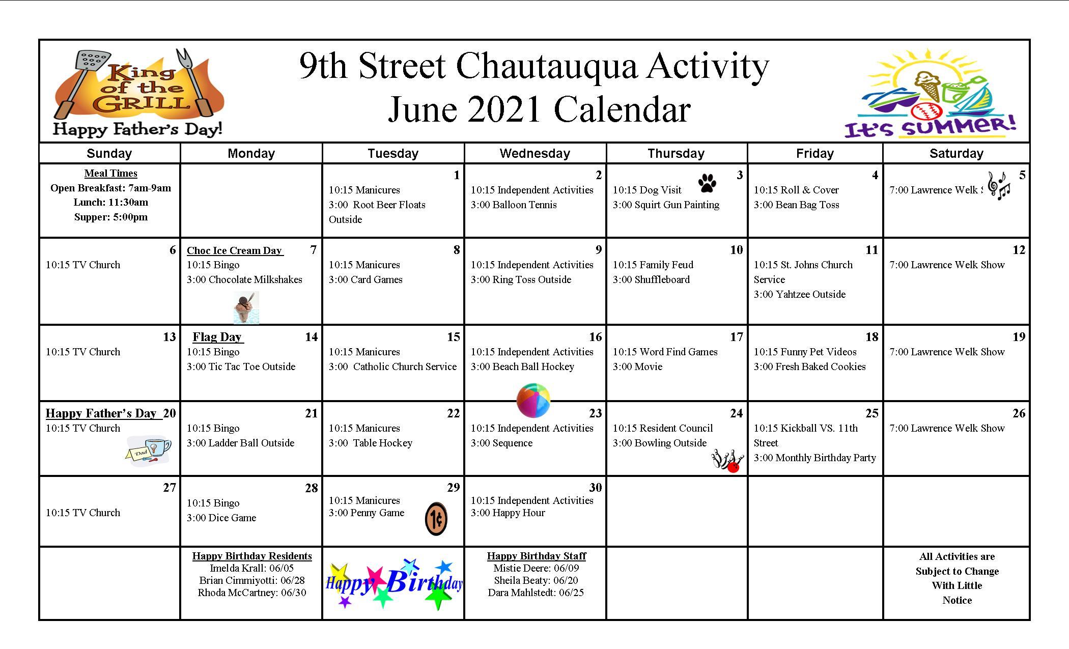 9th Street Calendar June 2021