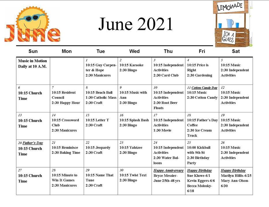 11th Street June Calendar